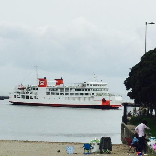 久里浜海岸を通りがかったらちょうどフェリーが入港するところが見られました。