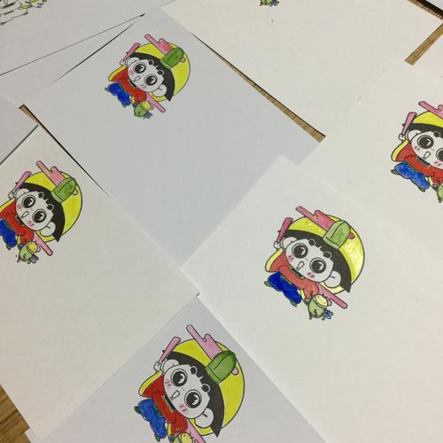 七五三でお渡しするカードを作っています。