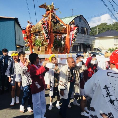 7月29日 久比里の鎮守様 若宮神社祭礼につき当社氏子会が応援に駆けつけました。