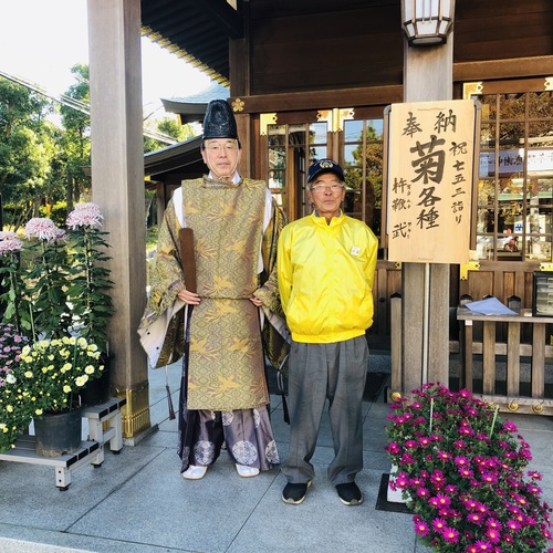 10/29(月) 氏子会の杵鞭 武さんが、沢山の綺麗な菊の花をご奉納して下さいました。